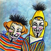 bert and ernie wear Guy Fawkes masks - by Dan Bellini